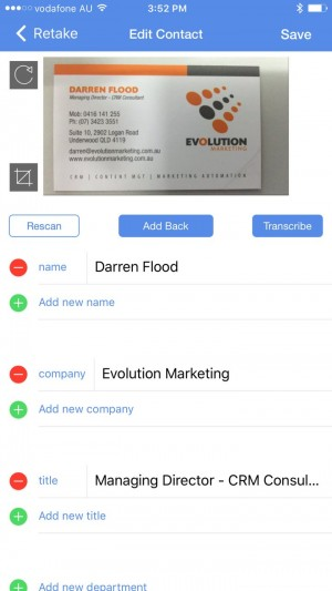 """The """"ScanBizCards Business Card Reader"""" App in action"""